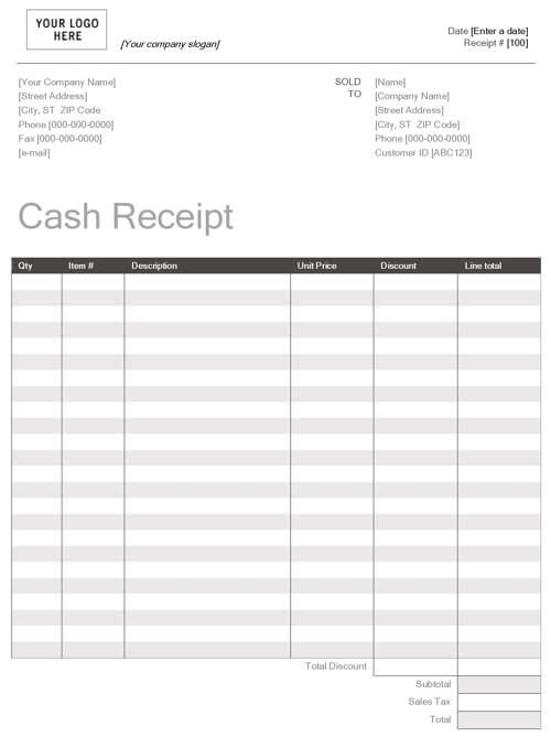 Cash Receipt Template Word Doc Printable Cash Receipt Template Word Doc