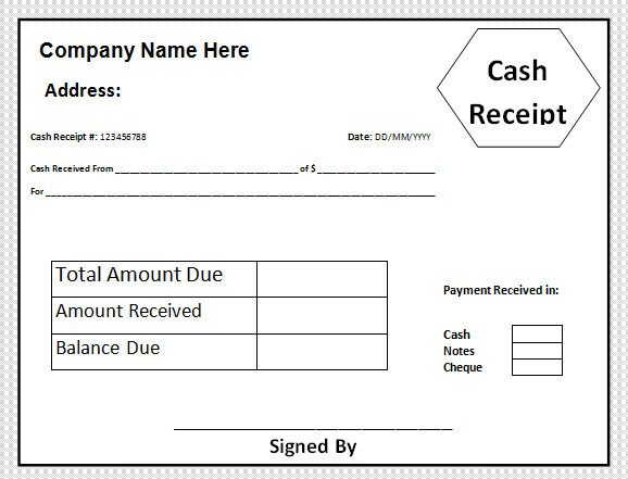 Cash Receipt Template Word Doc Sample Cash Receipt Template 30 Free Documents In Pdf Word
