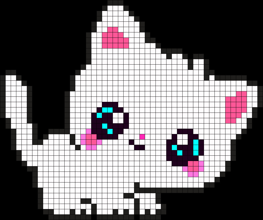 Cat Pixel Art Grid Cute Kitty Perler Bead Pattern Bead Sprite