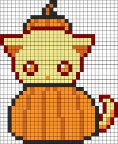 Cat Pixel Art Grid Zombie Kitty Perler Bead Pattern