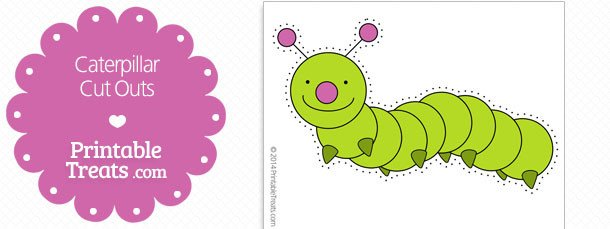 Caterpillar Cut Out Printable Hand Fan Template