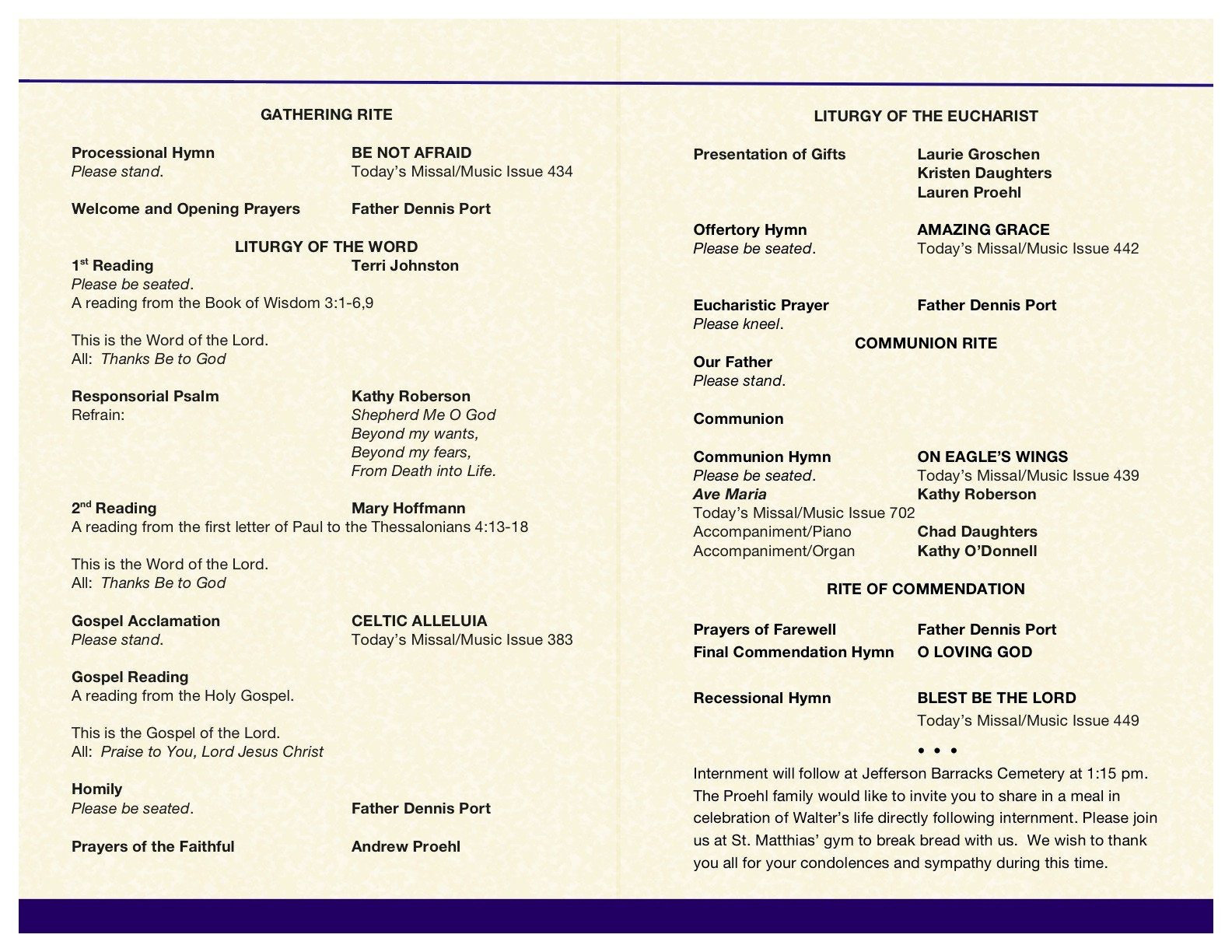 Catholic Funeral Mass Template Wally's Funeral Mass Booklet