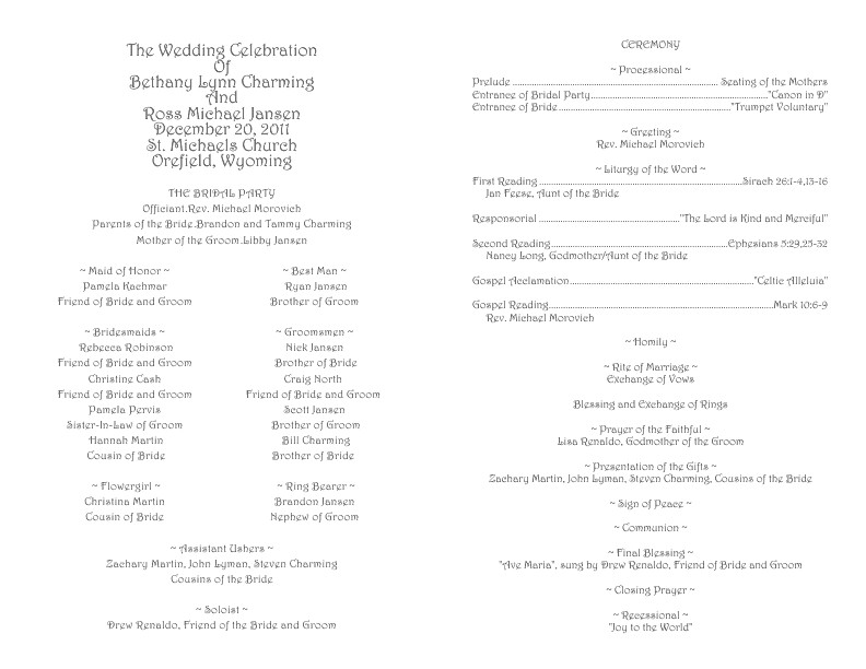 Catholic Wedding Program Template Catholic Wedding Program Template 1