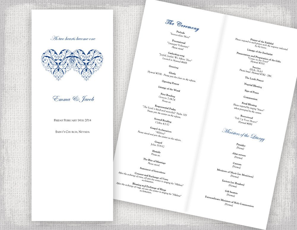 Catholic Wedding Program Template Catholic Wedding Program Template Printable Ceremony Program