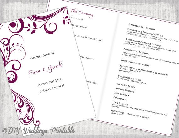 Catholic Wedding Program Template Catholic Wedding Program Template Sangria Scroll