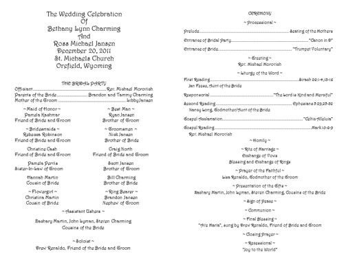 Catholic Wedding Program Template Creative Wedding Programs
