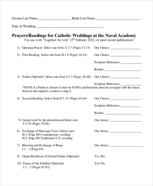 Catholic Wedding Program Template Free 10 Wedding Program Templates Free Sample Example