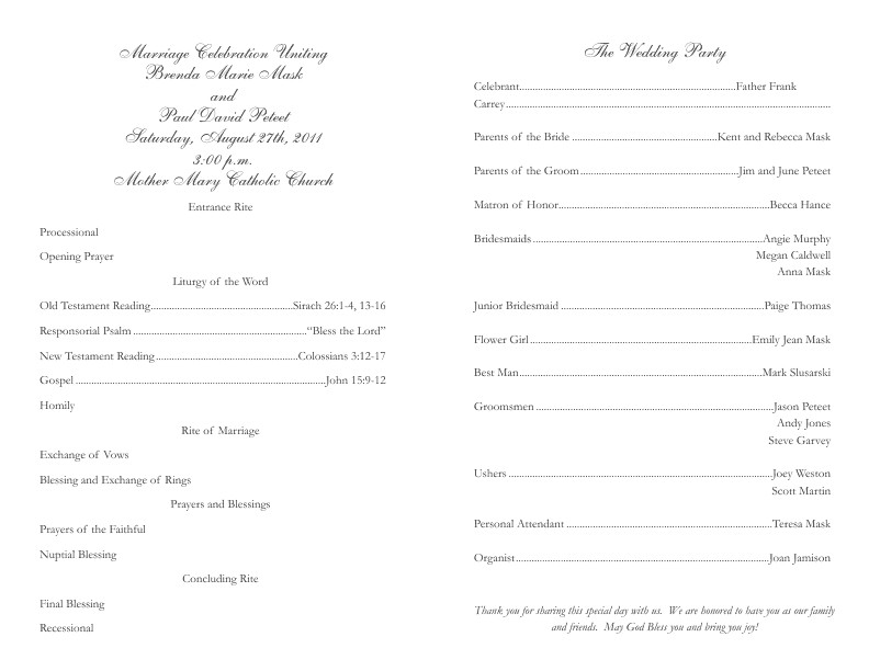 Catholic Wedding Program Template Free Catholic Wedding Program Template 2