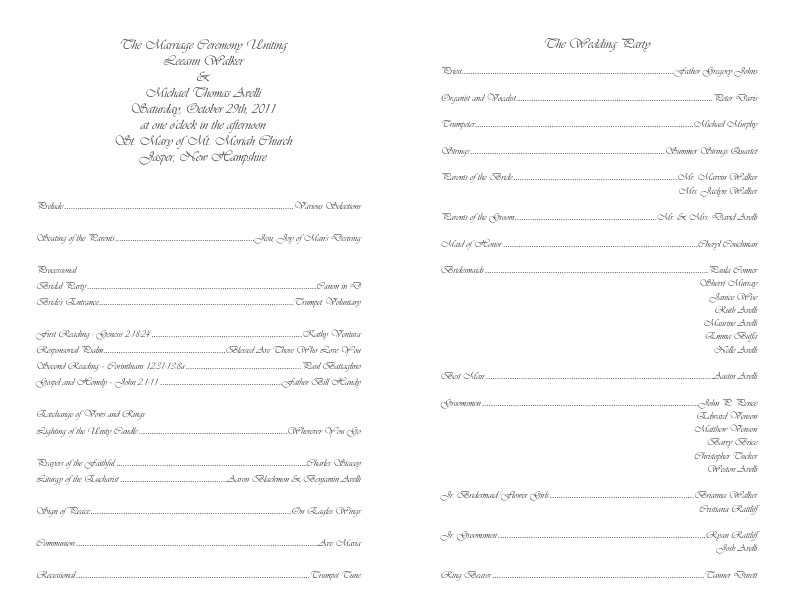 Catholic Wedding Program Template Free Catholic Wedding Program Template 4