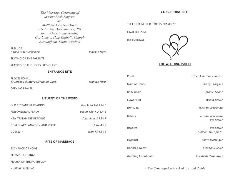 Catholic Wedding Program Template Free Catholic Wedding Program Template 5