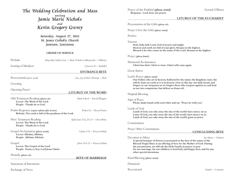Catholic Wedding Program Template Free Catholic Wedding Program Template 6