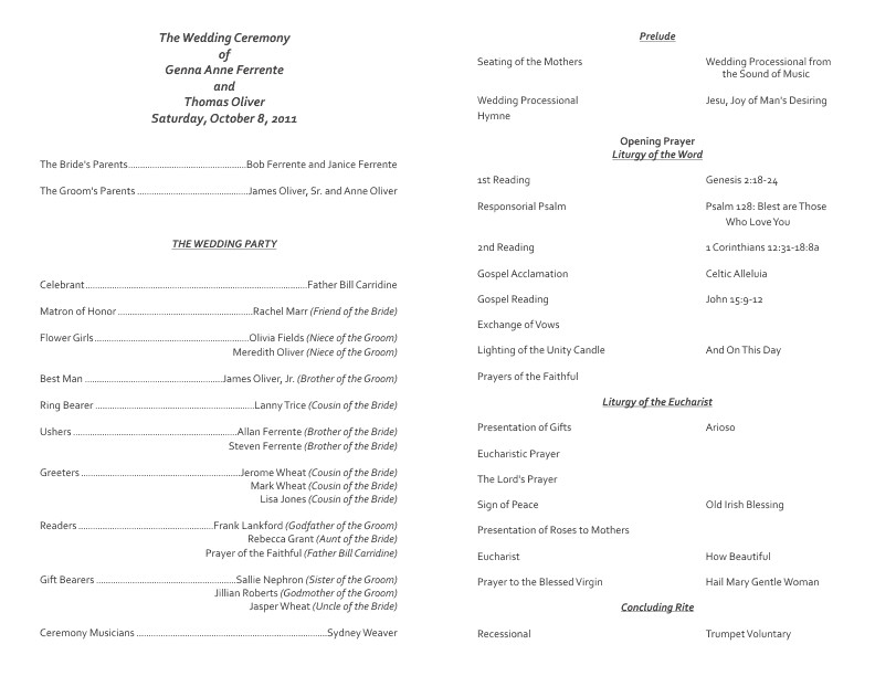 Catholic Wedding Program Template Free Catholic Wedding Program Template 7