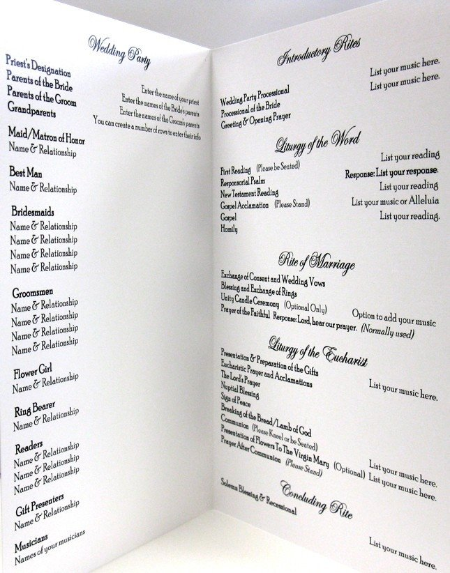 Catholic Wedding Program Template Free Catholic Wedding Program Template