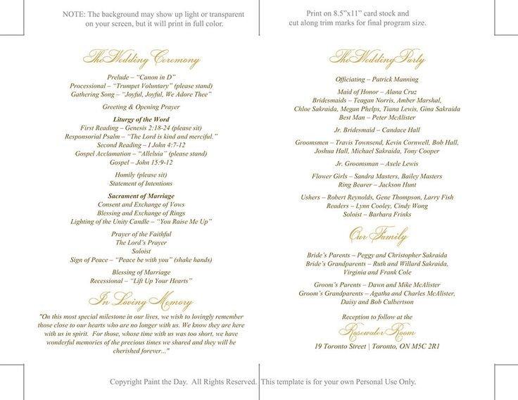 Catholic Wedding Program Template Free Catholic Wedding Program Template Printable by