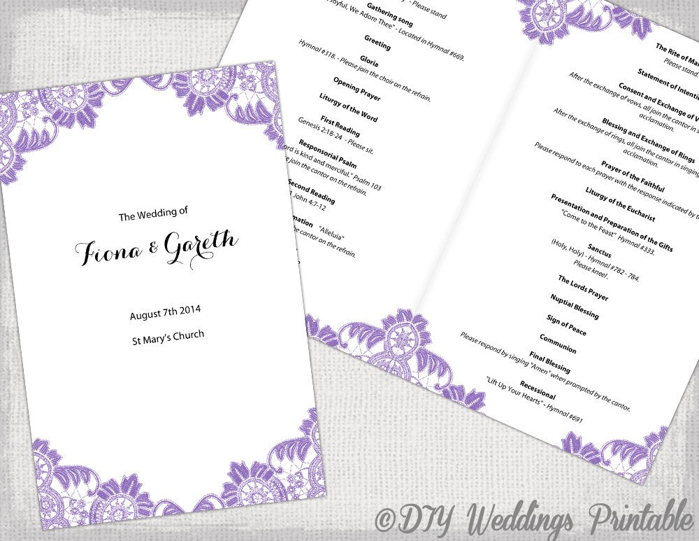 Catholic Wedding Program Template Free Catholic Wedding Program Template Wisteria Lavender