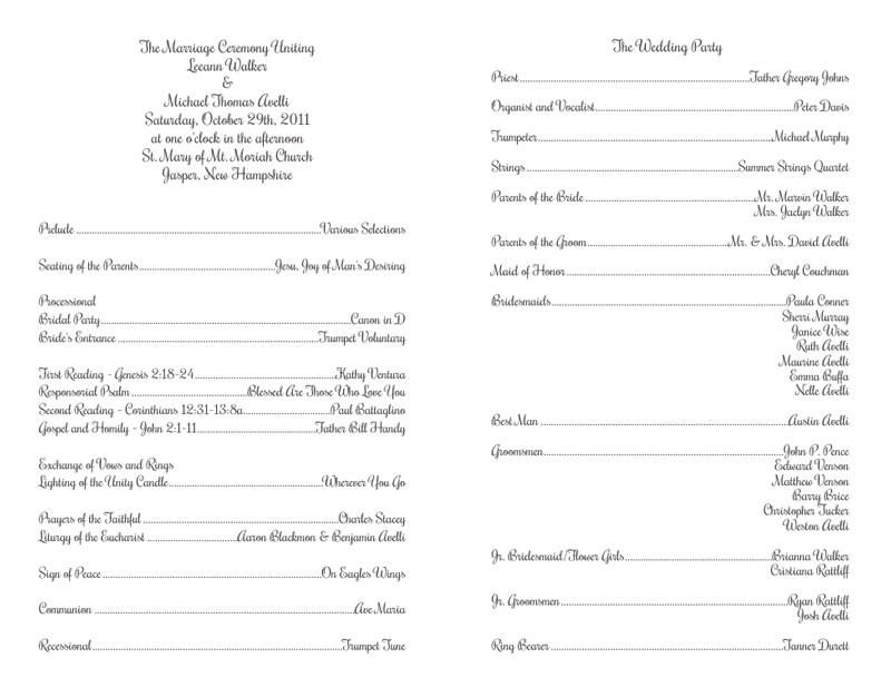 Catholic Wedding Program Template Free Free Wedding Program Templates – No Cover – Wedding