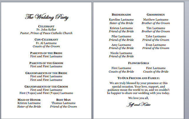 Catholic Wedding Program Template Free Spirals & Spatulas Catholic Wedding Program