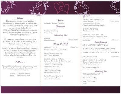 Catholic Wedding Program Template Free Wording for Wedding Program Traditional Catholic Mass