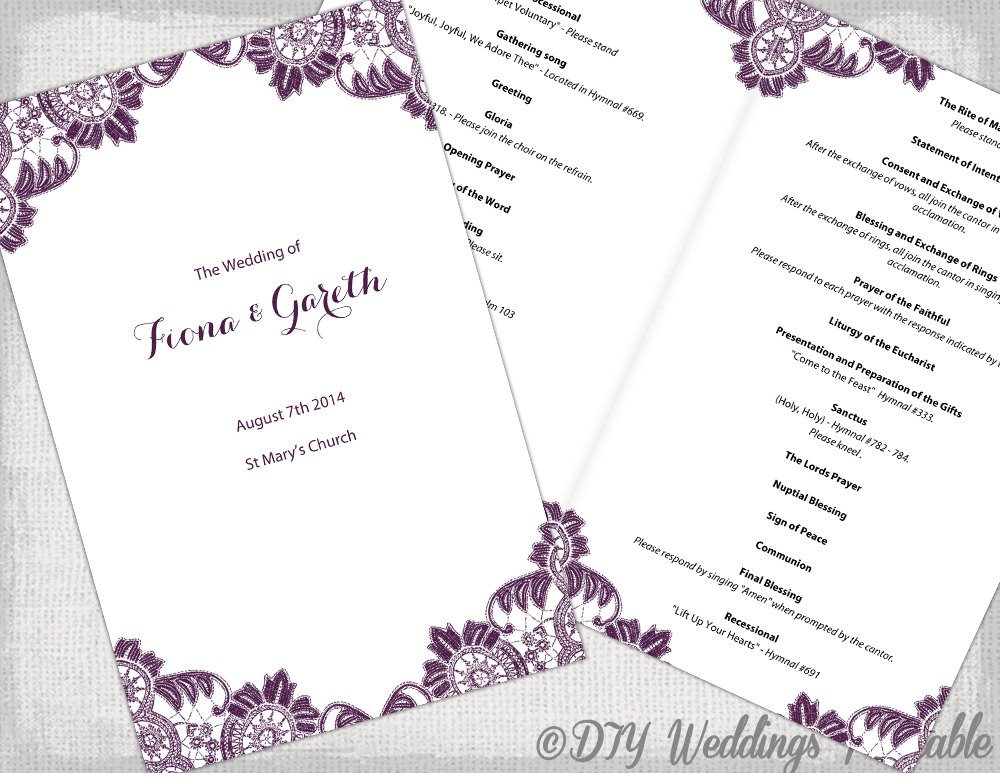 Catholic Wedding Program Template Plum Catholic Wedding Program Template Antique