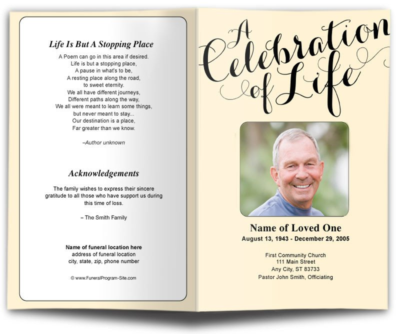 Celebration Of Life Program Template 25 Of Biker for Obituaries Samples Template