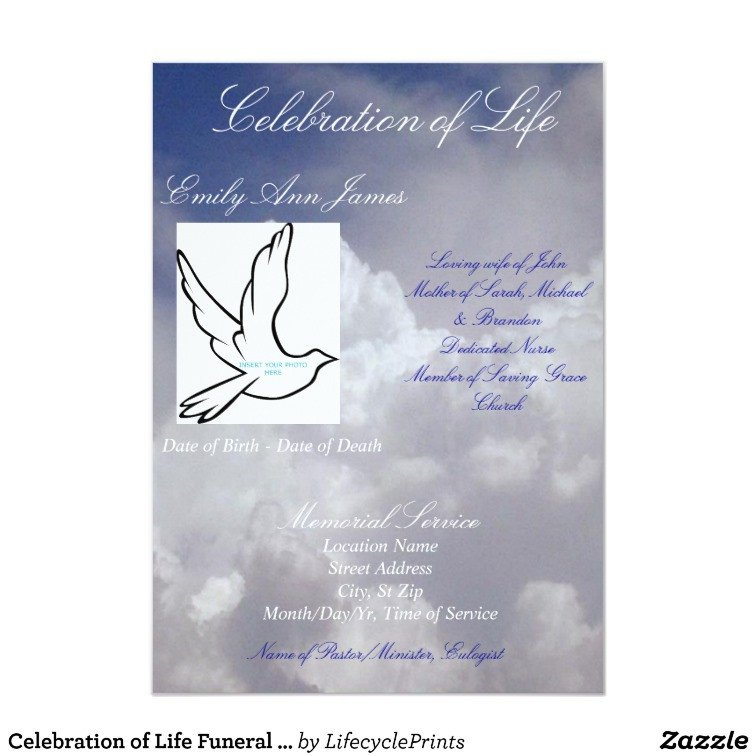 Celebration Of Life Program Template Celebration Of Life Funeral Invitation Program Card