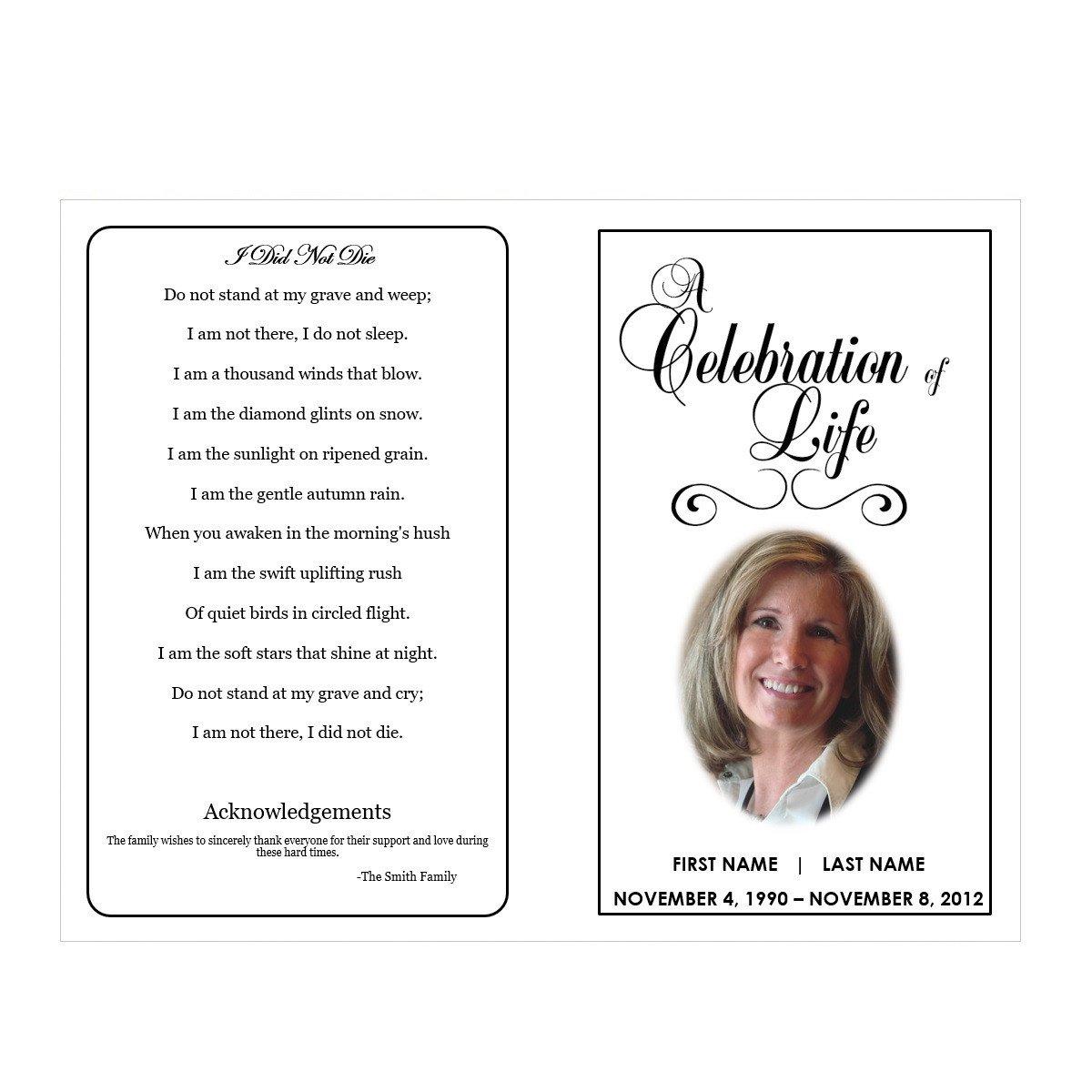 Celebration Of Life Program Template Celebration Of Life Funeral Pamphlets