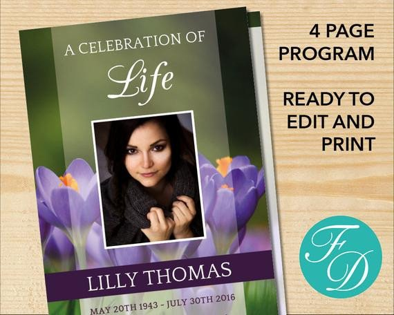 Celebration Of Life Program Template Celebration Of Life Printable Funeral Program Template