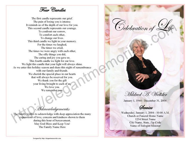 Celebration Of Life Program Template Celebration Of Life Service Program Sample