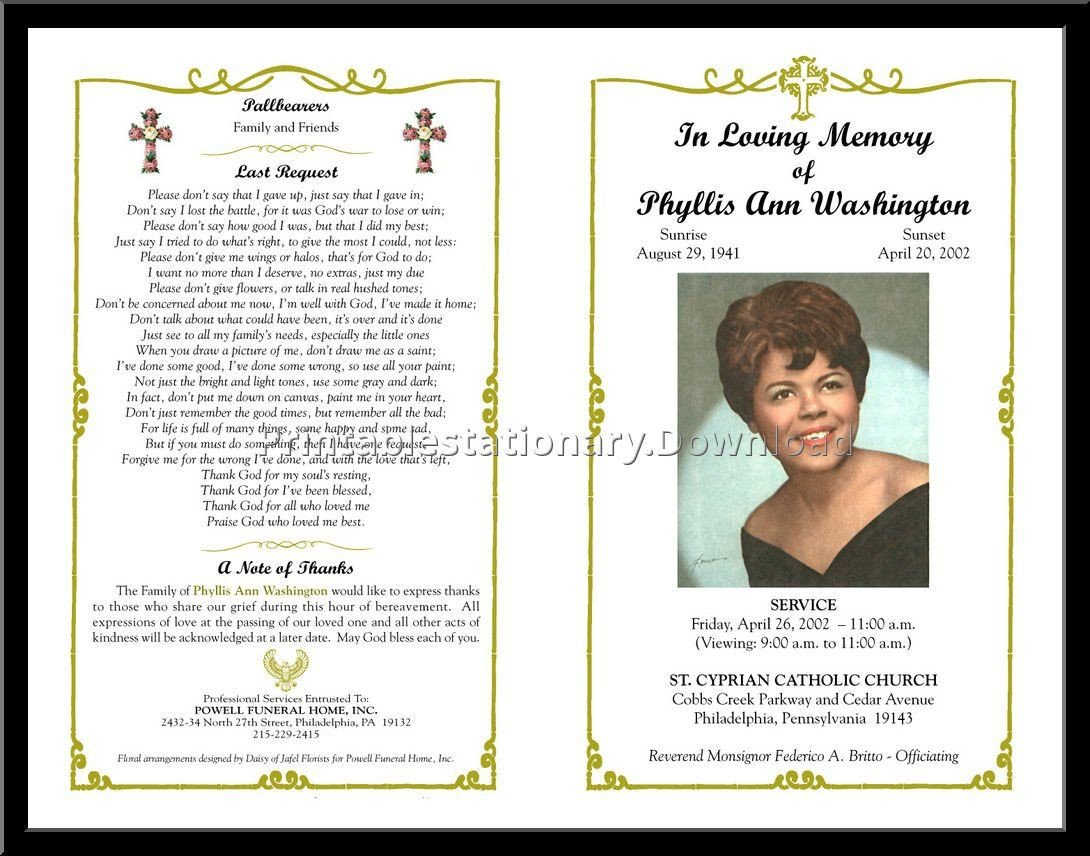Celebration Of Life Program Template Celebration Of Life Templates for Word Free Aol Image