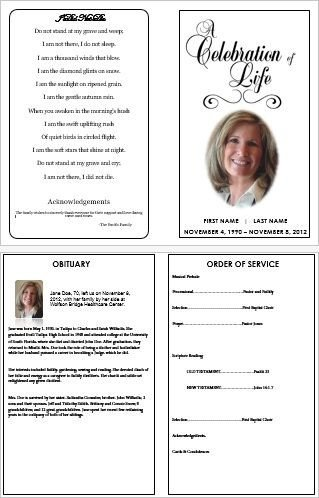 Celebration Of Life Program Template How to Make A Funeral Programme Using Ms Word