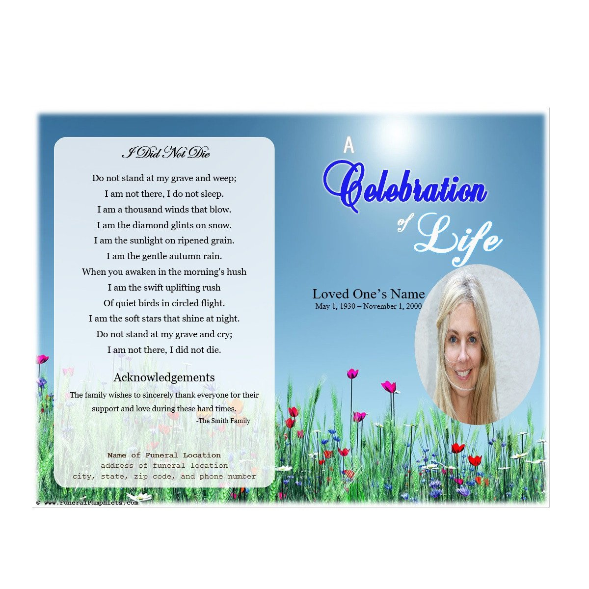 Celebration Of Life Program Template Life Single Fold Memorial Program Funeral Pamphlets