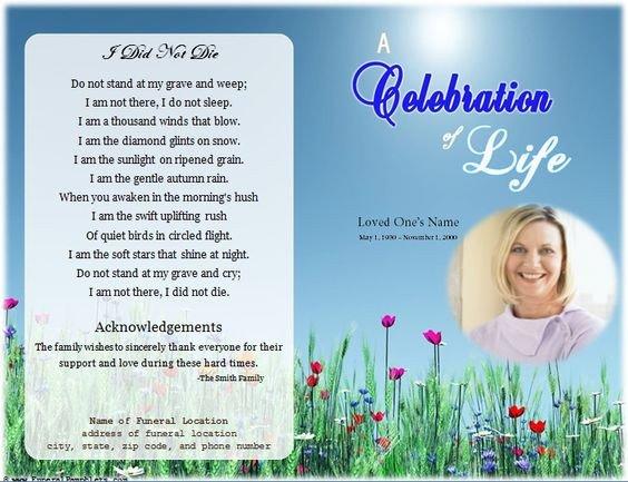 Celebration Of Life Program Template Loading Memorial Celebration Of Life Ideas