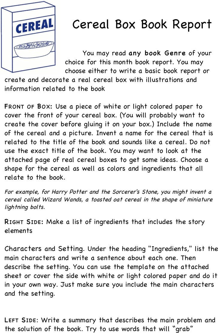 Cereal Box Book Report Template Cereal Box Book Report Template