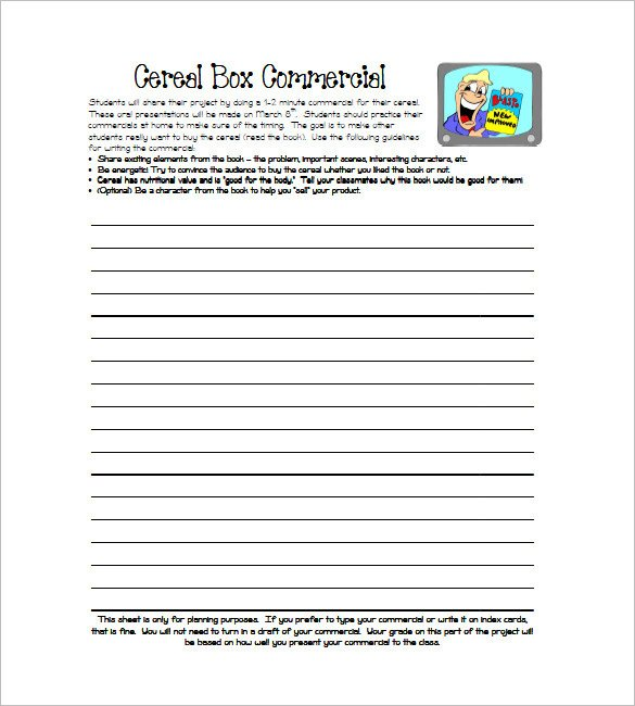 Cereal Box Book Report Template Cereal Box Template 10 Free Sample Example format
