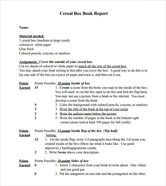 Cereal Box Book Report Template Sample Cereal Box Book Report 8 Documents In Pdf Word