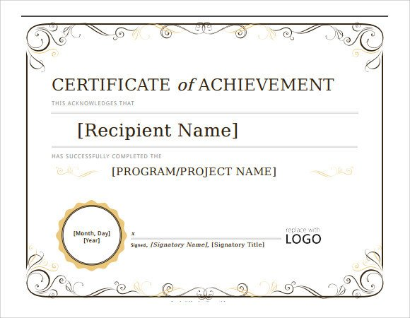 Certificate Of Achievement Template 28 Microsoft Certificate Templates Download Free