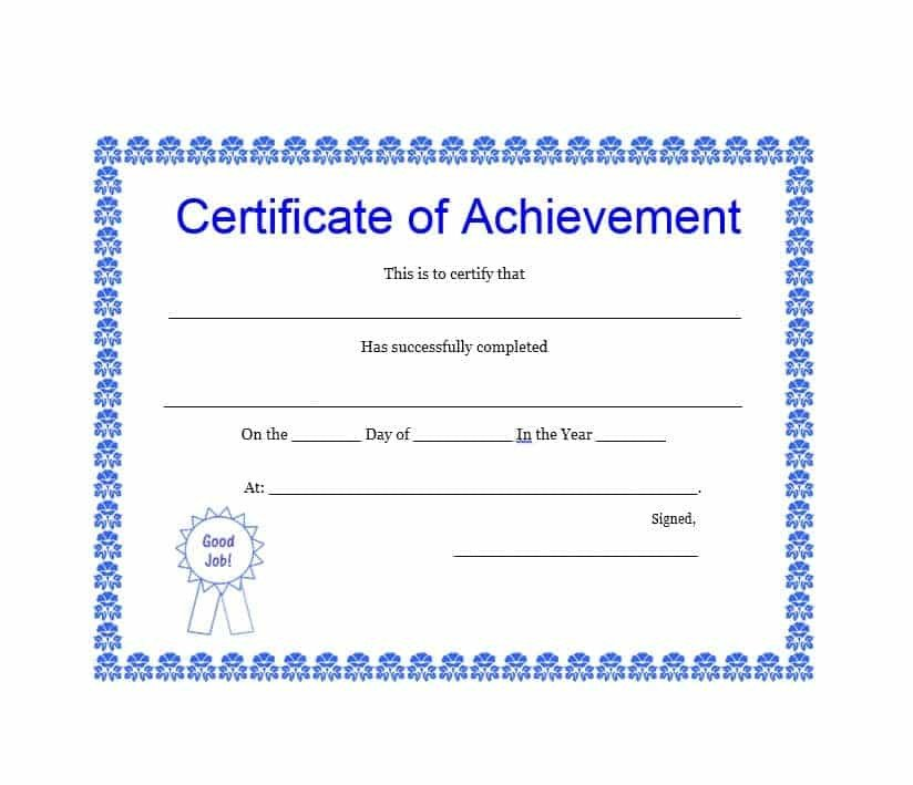 Certificate Of Achievement Template 40 Great Certificate Of Achievement Templates Free