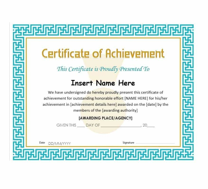 Certificate Of Achievement Template Blank Certificates