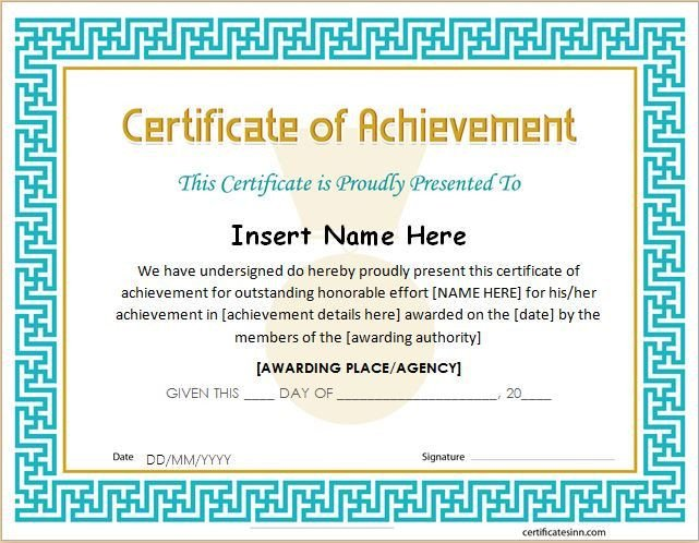 Certificate Of Achievement Template Word 25 Best Ideas About Certificate Of Achievement Template