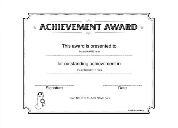Certificate Of Achievement Template Word 6 Award Templates Doc Pdf