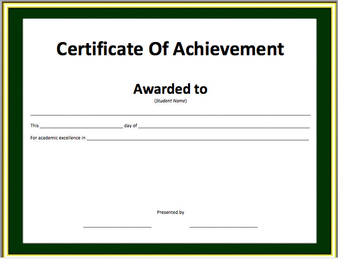 Certificate Of Achievement Template Word Award Certificate Template for Word