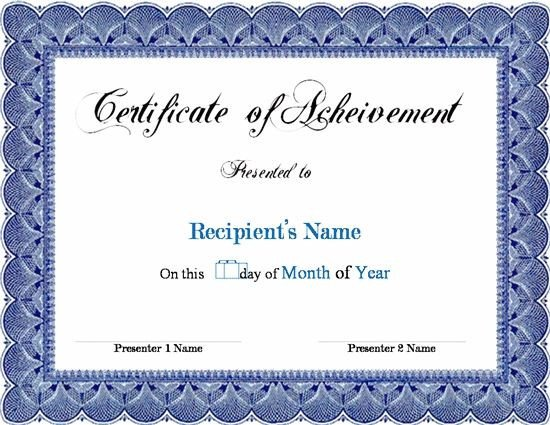 Certificate Of Achievement Template Word Award Template Word Projects to Try