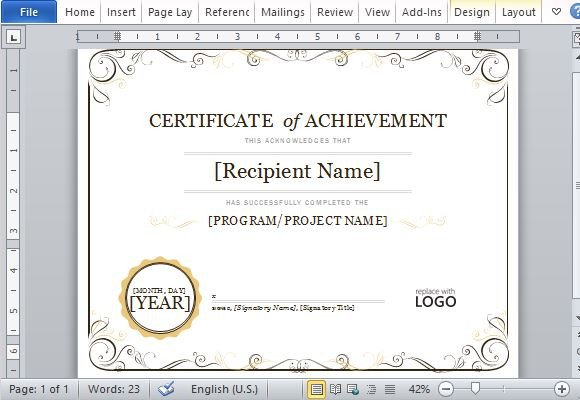 Certificate Of Achievement Template Word Certificate Achievement Template for Word 2013