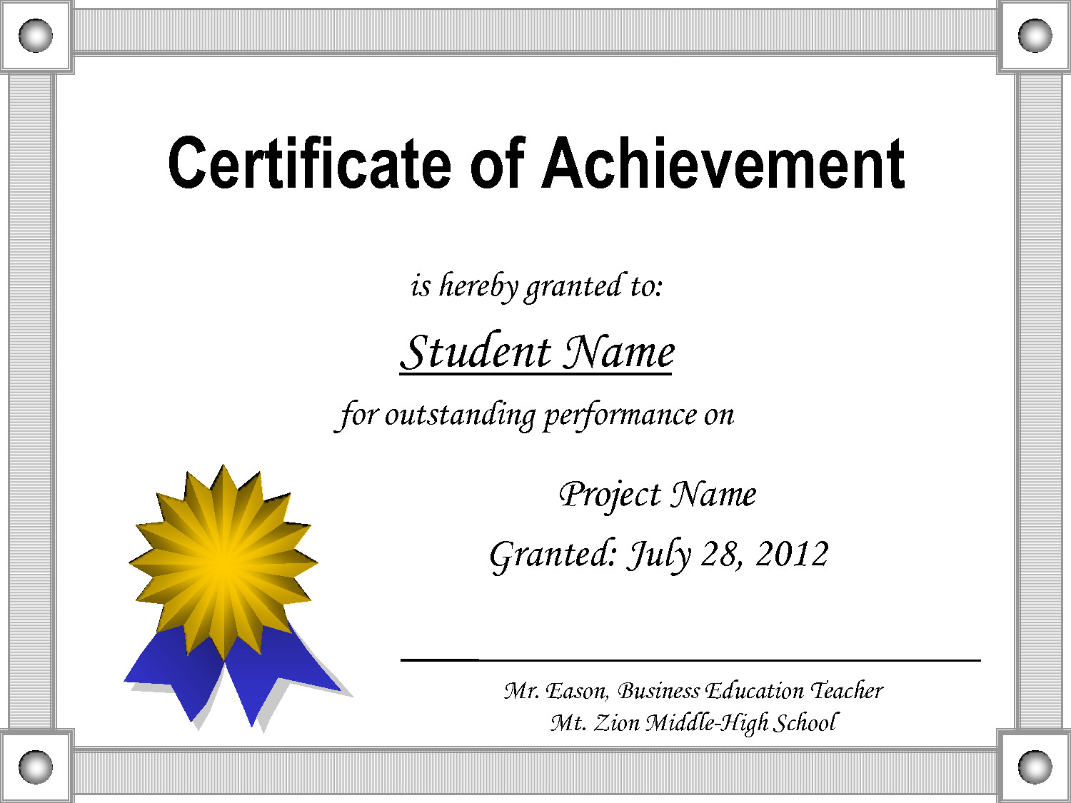 Certificate Of Achievement Template Word Certificate Achievement Template