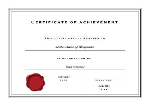 Certificate Of Achievement Template Word Certificate Of Achievement 002