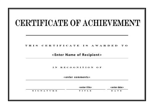 Certificate Of Achievement Template Word Certificate Of Achievement 004