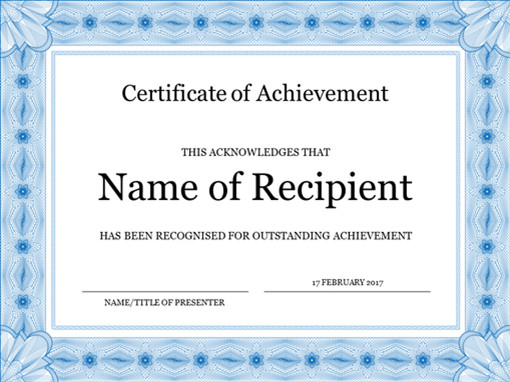 Certificate Of Achievement Template Word Certificate Of Achievement Blue