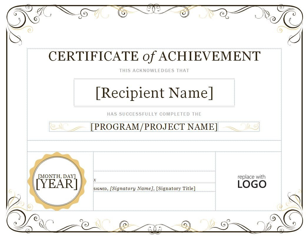 Certificate Of Achievement Template Word Certificate Of Achievement