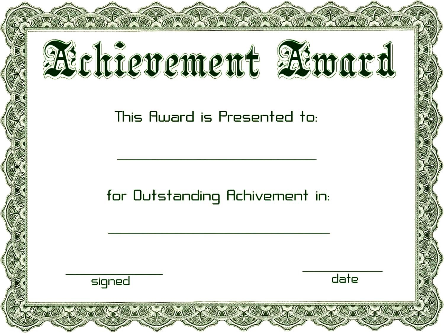 Certificate Of Achievement Template Word Excellent Achievement Award Template Word Example with