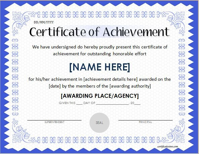 Certificate Of Achievement Template Word Scholarship Award Certificate Template